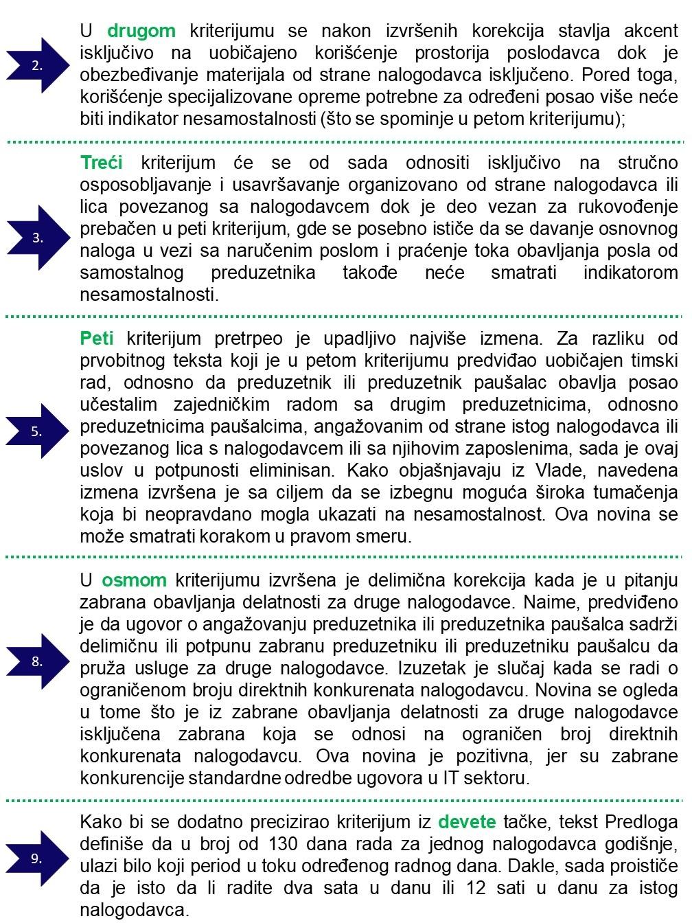 izmene kriterijuma za test samostalnosti, gde su izmene unete u drugu, treću, petu, osmu i devetu tačku
