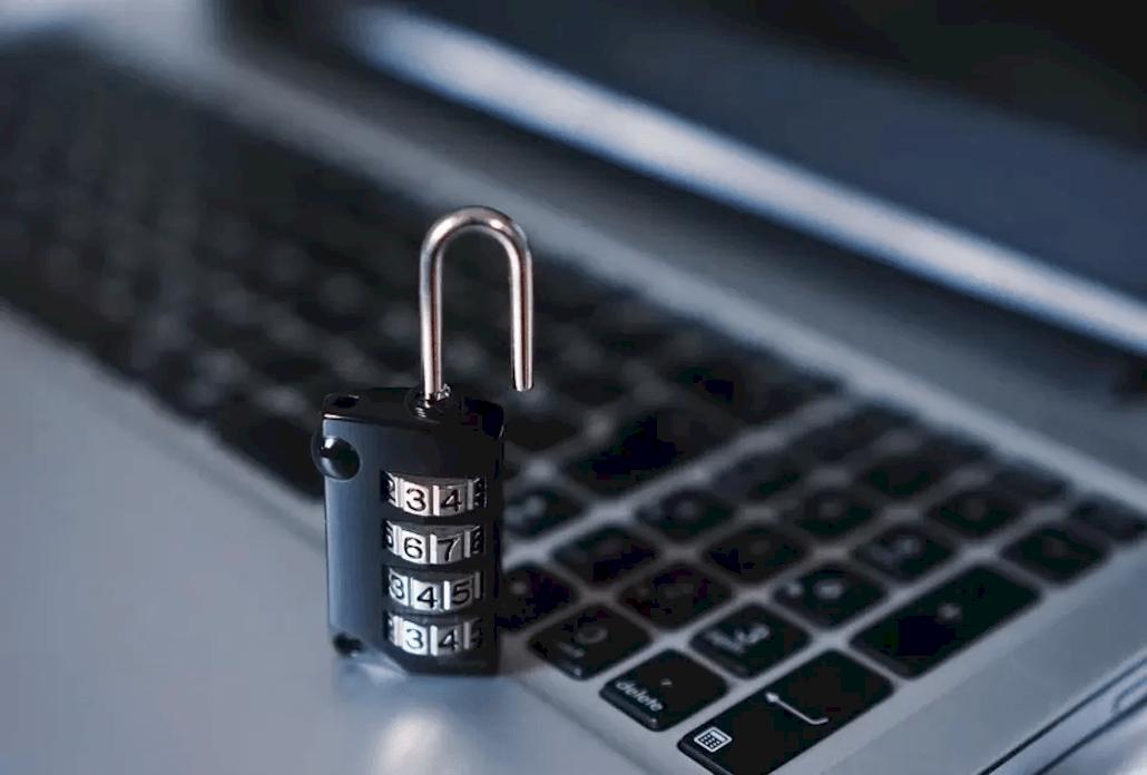 padlock and computer